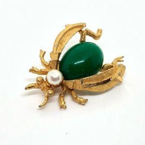 🆕Vintage BSK Gold & Green Bug Pin